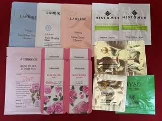 Laneige, Mamonde, Bio Essence, Shiseido, Histomer, Innisfree, Belif Sample Sachets RM1/sac