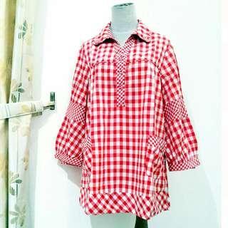 Big Size Blouse Import Baju Atasan Oversize Bigsize Kotak-Kotak Tunik Dress