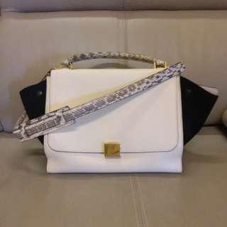 Celine Tri Color Trapeze Bag 黑白蛇皮 handle 背帶特別版, 90% 新