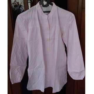 Kemeja Stripes Pink Putih
