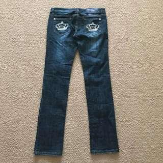 Victoria Beckham for Rock & Republic jeans Size 30 Madrid Crown Embroidery