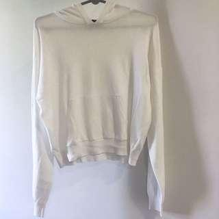 F21 White Oversized Cropped Jumper Pullover Hoodie