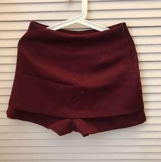 Gate 韓國製Korea酒紅色短裙褲