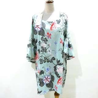 Big Size Midi Dress Import Motif Bunga Oversize Jumbo Blouse Tunik