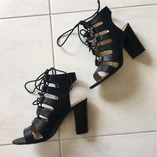 Brand New Size 7 Myer Miss Shop Black Lace Up Bootie Block Heels Sandals