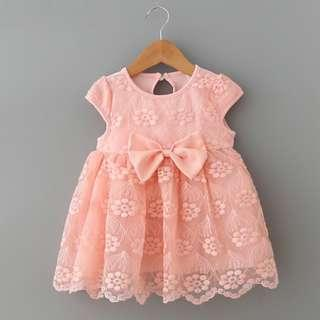 🌟PM for price🌟 🍀Baby Girl Short Sleeves Mini Bow Lace Dress🍀