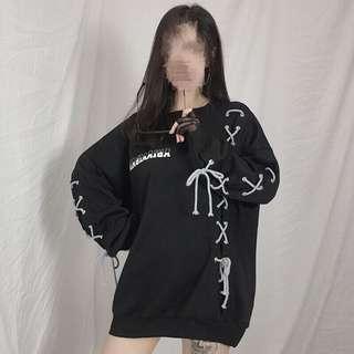 Black/white tie hoodie sweatshirt top