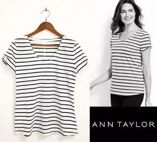 ANN TAYLOR twist sleeve tee (white striped black)