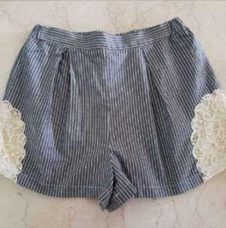Dip Drops Pin Stripes Shorts with Lace