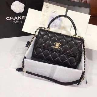 Chanel Lambskin Top Handle Flap Bag