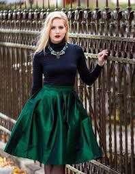 Emerald green vintage A-line skirt