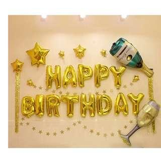 🚚 (In Stock)Gold Birthday Party Decoration Set-Happy Birthday