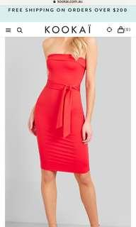 Kookai Red Oakley Midi Dress size 2