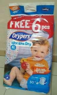 Drypers Wee Wee Dry XL50+6 Tape Diapers