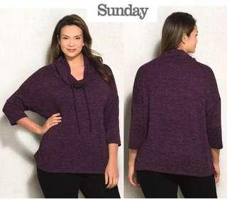 SUNDAY knit cowl neck sweater (marled purple)
