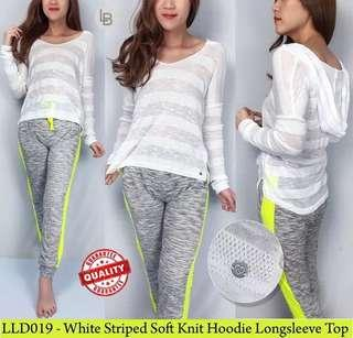LIVELOVEDREAM white striped soft knit hoodie longsleeve tshirt