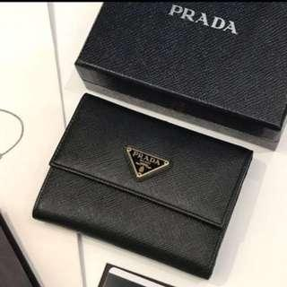 Authentic Prada Wallet Saffiano Triangolo Full Set