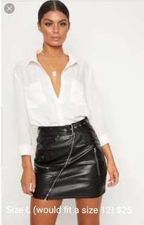 Biker style leather skirt