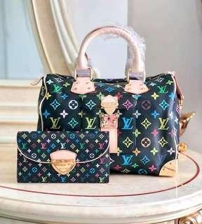 LV Multicolor Monogram Speedy Bag with Wallet
