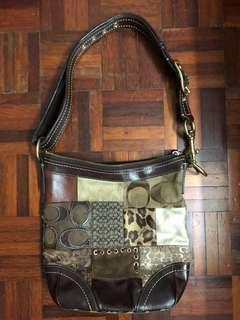 Authentic Coach Signature Brown Animal Print Patchwork Shoulder Bag