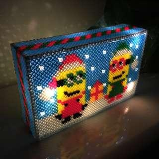 [Design C02] Christmas Minions Handmade LED Lightbox - 1 box 2 different picture to display!