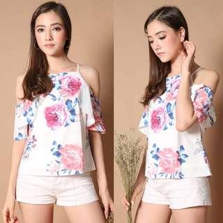 The Stage Walk TSW Evia Cold Shoulder Top in Peony