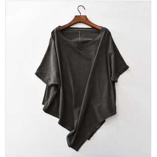 Triangle Slant Batwing Top, Gray