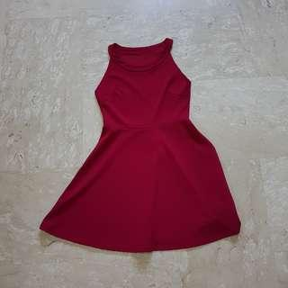 Wine Red / Maroon Halter Dress