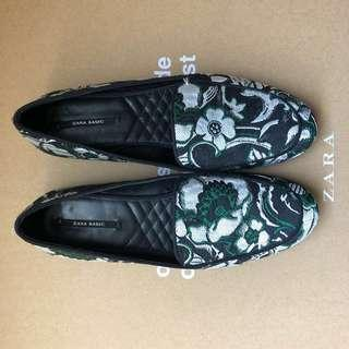 ZARA Brocade Floral Loafers Black Green 37