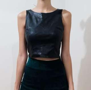 Leather Crop top xs
