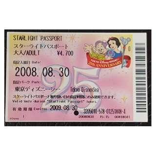 (1K) STARLIGHT PASSPORT - TOKYO DISNEY 25 週年, $30 包郵