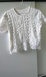純白棉質通花上衣