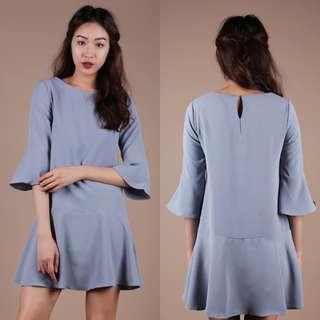 The Tinsel Rack TTR Hilary Flare Dress in Dusty Blue