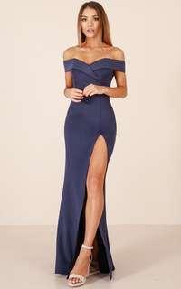 Navy slit maxi dress