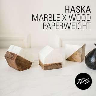 ⚡️ Haska Geometric Paperweight/Ornament in Marble x Wood