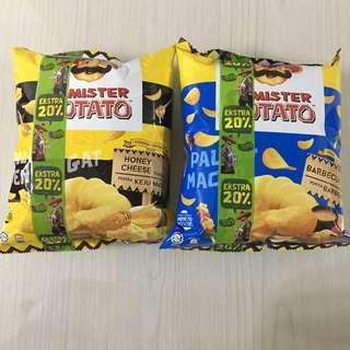 Mister Potato chip - Honey Cheese/ Barbecue (90g)