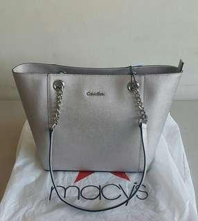 Calvin Klein Silver Leather Tote Bag