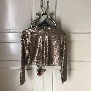 Sequined Cropped Top
