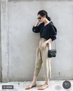 🚚 Zara簡約深藍七分袖絲質襯衫