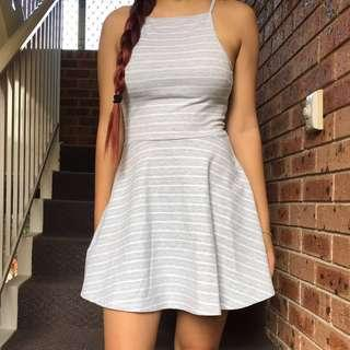 striped halter neck skater dress