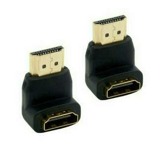 Right Angled HDMI Adapters 90 Degree Gold Plated Connectors Male to Female