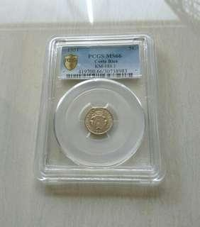 Costa Rica 1951 5 Centimos PCGS MS66 Coin