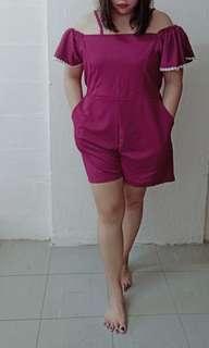 Maroon Purple Plus Size Romper