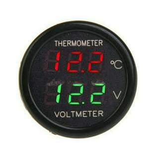 2 In 1 Car Auto Red Green Dual Display LED Digital Thermometer Voltmeter DC 12V