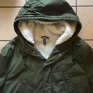 H&M Army Green Long Quilted Parka with Fleece