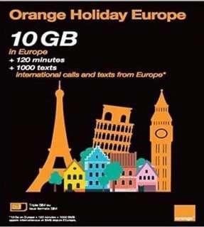 🚚 法國🇫🇷 Orange holidays 全歐洲4G上網預付卡