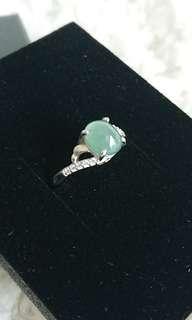 Jadeite Cabochon on 925 Silver Ring. 缅甸玉翡翠925银女戒.