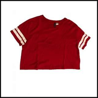 H&M RED CROP TOP TEE ( WHITE STRIPES )