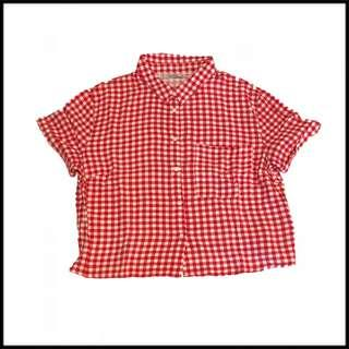 PULL N BEAR SQUARE BUTTON UP ( RED N WHITE )