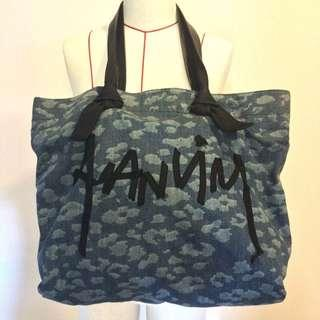 🚚 RRP S$1200 NOW S$380 LANVIN LEATHER N DENIM LOGO BAG
